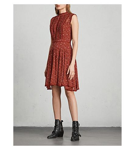 ALLSAINTS Myra Pepper printed chiffon mini dress (Dark+red