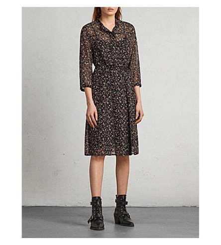 ALLSAINTS Chiffon floral print dress (Black