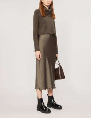 Tierny rurtleneck wool-blend and satin midi dress
