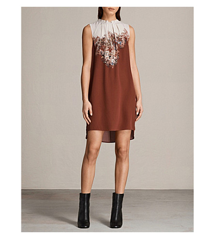 ALLSAINTS Jay Clement silk dress (Rust