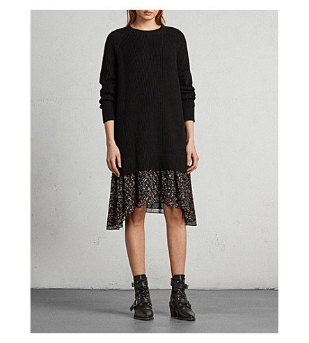 ALLSAINTS Ribbed cotton jumper dress (Black