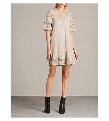 ALLSAINTS Henrietta floral-embroidered mesh dress (Oyster+white