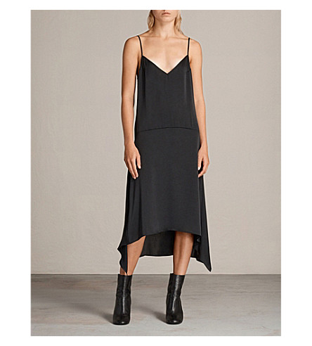 ALLSAINTS Irina wool and cashmere-blend dress (Cinder+black/b
