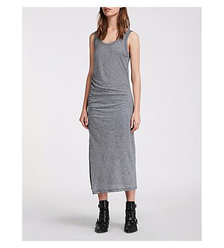 ALLSAINTS Tina cotton-jersey dress (Navy/chalk+whi