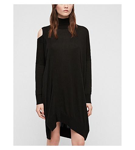 ALLSAINTS Cecily asymmetric knitted dress (Black