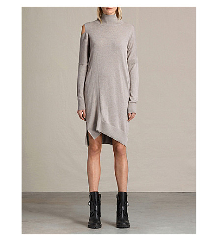 ALLSAINTS Cecily asymmetric knitted dress (Sablebrownmarl