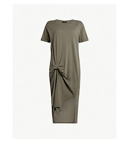 ALLSAINTS Rivia Ida 短袖不对称连衣裙 (无烟煤 + gre)