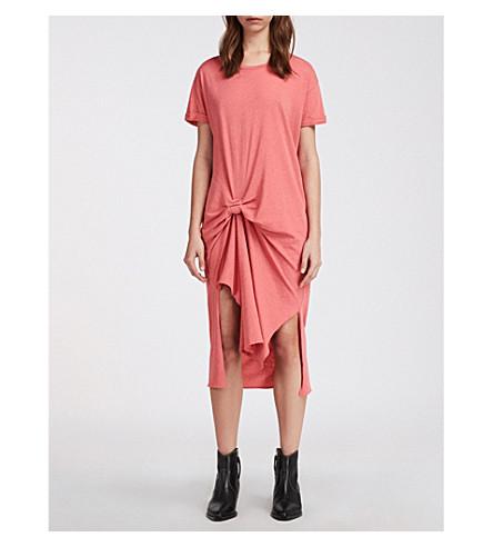 color corta asimétrico manga Rivia T rosa coral vestido Ida ALLSAINTS nfqY0Fx