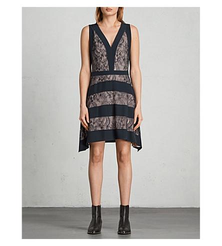 ALLSAINTS Gwen lace-trim woven dress (Ink+blue