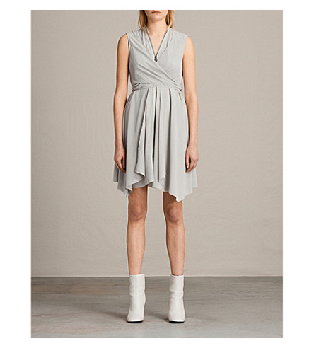 ALLSAINTS Jayda silk dress (Storm+grey