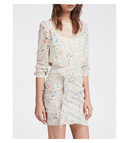 ALLSAINTS火石绉连衣裙 (粉笔 + 白色
