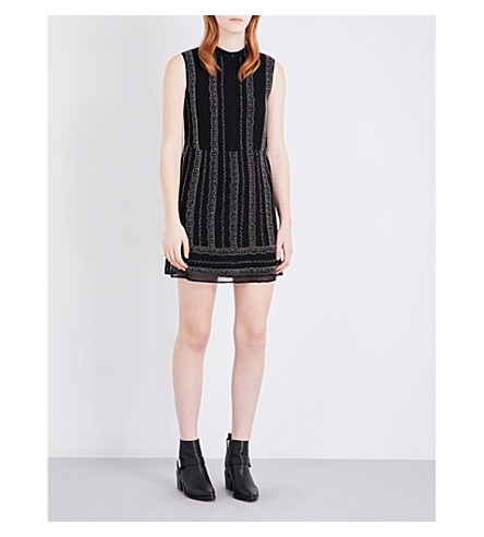ALLSAINTS Hezzy embellished crepe dress (Black