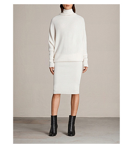 ALLSAINTS Ridley wool and cashmere-blend dress (Chalk+white