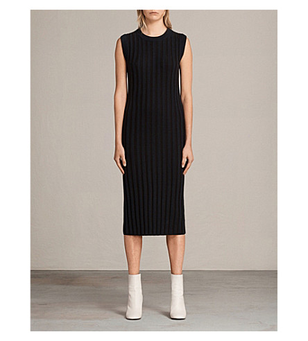 ALLSAINTS Kait ribbed knitted wool and cotton-blend dress (Ink+blue/black