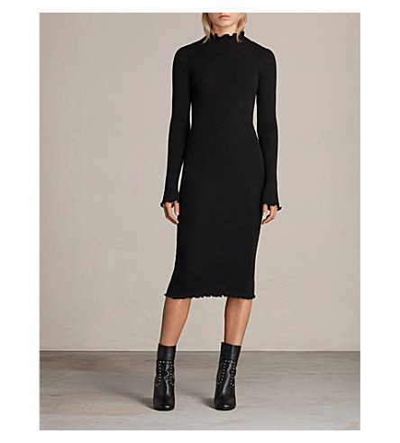 ALLSAINTS Eli frilled cotton-blend dress (Black