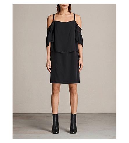 ALLSAINTS Siva cold-shoulder silk dress (Black