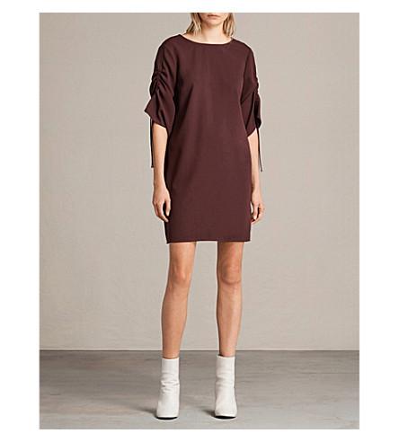 ALLSAINTS Evie crepe dress (Bordeaux+red