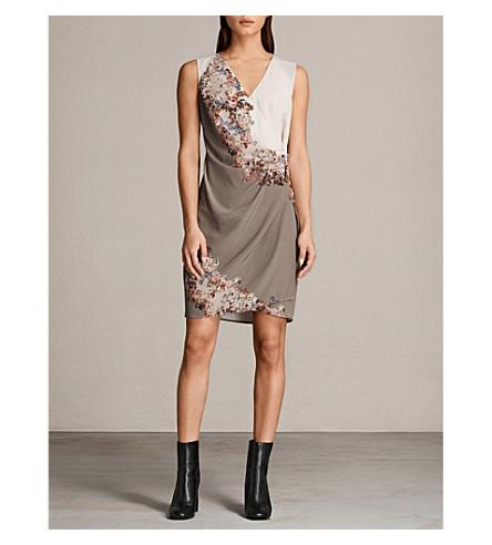 ALLSAINTS Anika silk mini dress (Taupe+grey