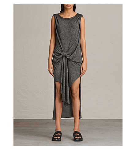 ALLSAINTS Riviera Devo cotton-blend dress (Ash/black