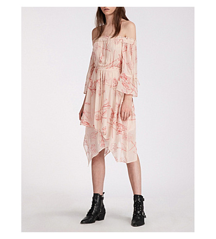 ALLSAINTS Rina Verity embroidered off-the-shoulder dress (Pink/coral+red