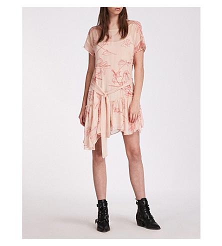 ALLSAINTS Sara Verity asymmetric-hem chiffon dress (Pink/coral+red