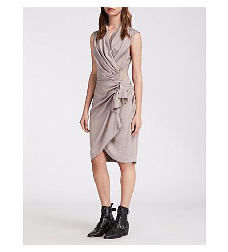perla Cancity reunido crepé ALLSAINTS gris vestido 6dqt1X