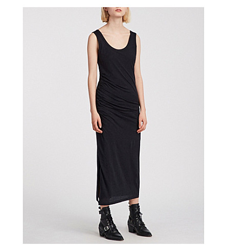 ALLSAINTS 蒂娜平纹针织棉连衣裙 (黑色