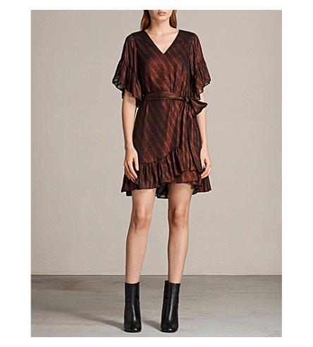 ALLSAINTS Belle metallic ruffled dress (Dark red