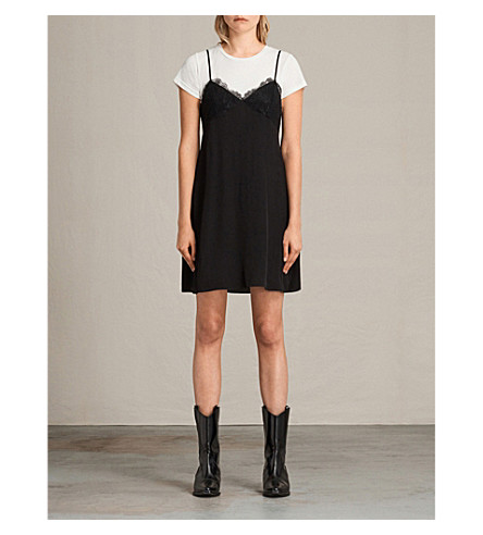 ALLSAINTS Ives layered slip dress (Black