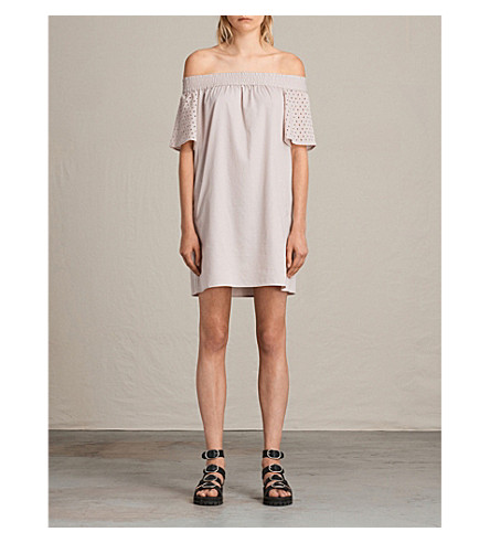 ALLSAINTS Livia Emb cotton-blend dress (Champagne+pink