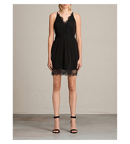 ALLSAINTS May pleated crepe dress (Black
