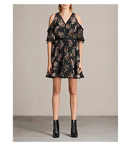 ALLSAINTS Christal rosarium velvet-devoré chiffon dress (Black