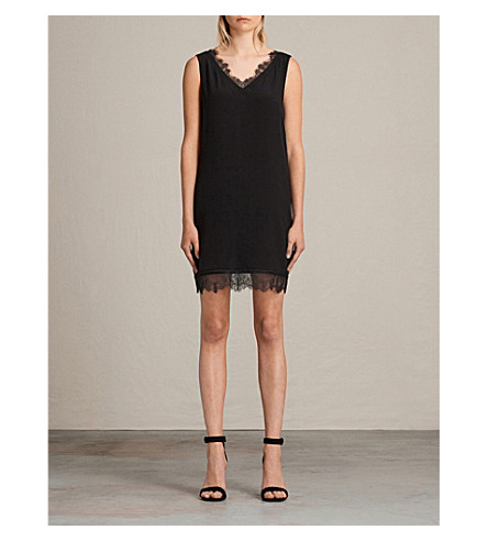 ALLSAINTS Camia lace trim dress (Black