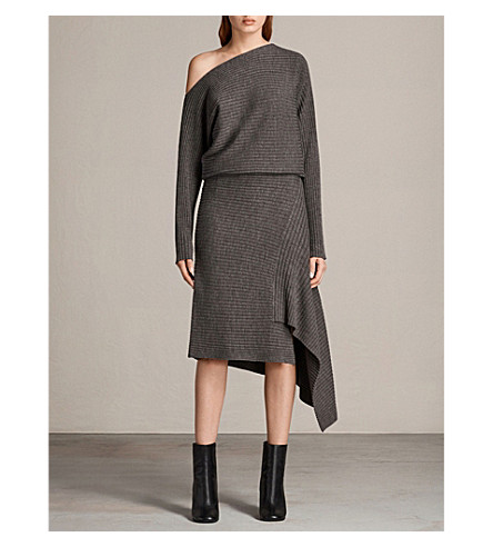 ALLSAINTS Eva asymmetric ribbed merino wool dress (Doe+marl
