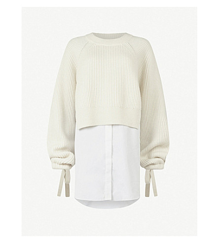 ALLSAINTS Sura knitted overlay cotton and wool-blend dress (Chalk+white