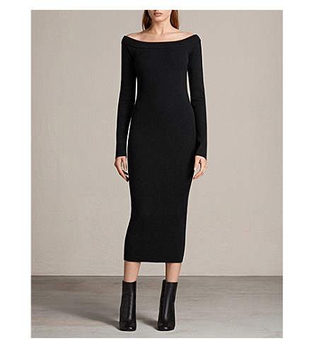 ALLSAINTS Lavine long-sleeved ribbed wool-blend midi dress (Black