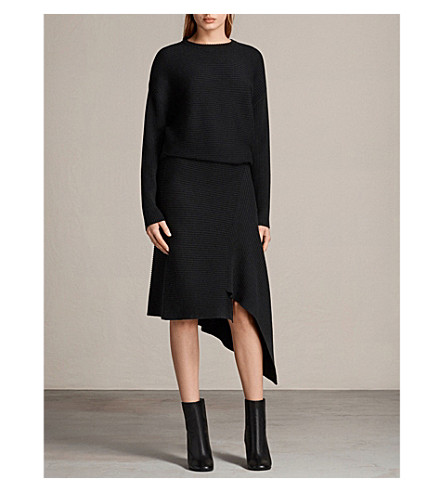ALLSAINTS Eva asymmetric ribbed merino wool dress (Black