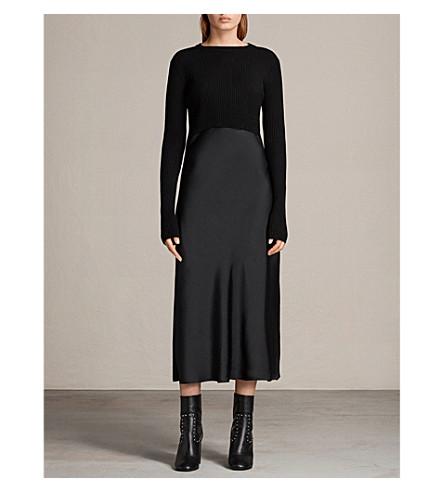 ALLSAINTS Kowlo 层状羊毛和缎子 midi 连衣裙 (黑色