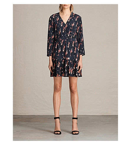 ALLSAINTS Via Mitre Kirsch Silk Dress (Ink+blue