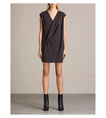 ALLSAINTS Aures crepe dress (Anthracite+gre