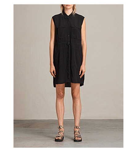 ALLSAINTS Millie sleeveless woven dress (Black