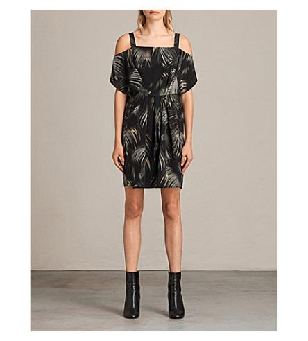ALLSAINTS Neluwa palm-print silk dress (Black