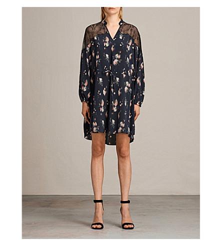 ALLSAINTS Laya Meadow silk-crepe dress (Mystic+blue