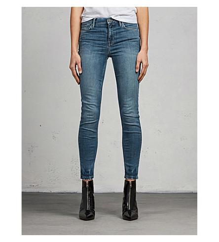 ALLSAINTS Grace distressed skinny mid-rise jeans (Fresh+blue
