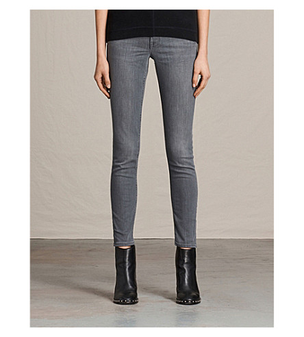 ALLSAINTS Mast skinny low-rise jeans (Washed+grey