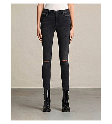ALLSAINTS Grace skinny mid-rise jeans (Washed+black