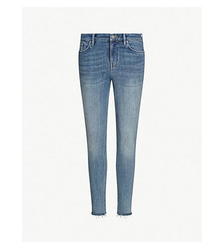 ALLSAINTS Grace frayed-hem skinny mid-rise jeans (Light+indigo+b