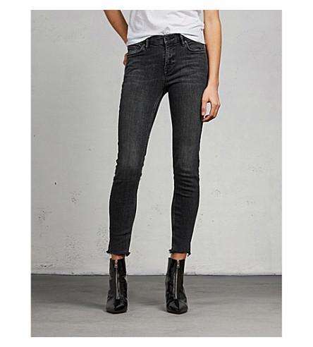 ALLSAINTS Grace frayed-hem skinny mid-rise jeans (Washed+black