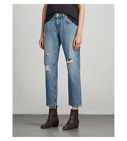 ALLSAINTS Alana boyfriend-fit low-rise jeans (Light+indigo+b