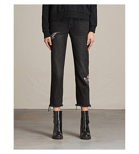 ALLSAINTS Bird-embroidery boyfriend-fit cropped jeans (Washed+black